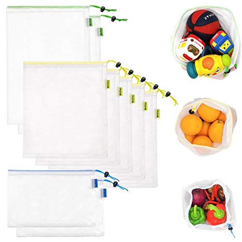 9 Pcs Reusable Produce Bags 3 Sizes Washable Produce Mesh Bags with Drawstring for Grocery Shopping Storage Fruit Vegetable and Toys Lightweight and SeeThrough