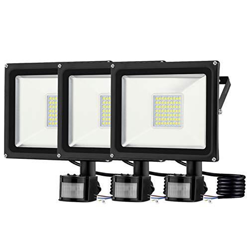 BAM - Store Focos LED de 30 W para Exteriores, iluminación de Seguridad con Sensor PIR IP65 a Prueba de Agua, 2400LM 3200K focos Blancos cálidos, luz de Pared de Trabajo en el jardín,3 Pack