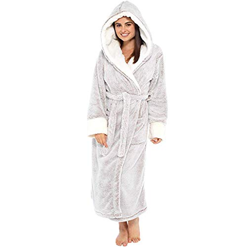 Women's Robe Soft Pure Cotton Bathrobe Robe Pajama Long Robe Fluffy Towels Warm Housecoat Cotton Terry Shawl Bathrobe (Gray 5, XL)