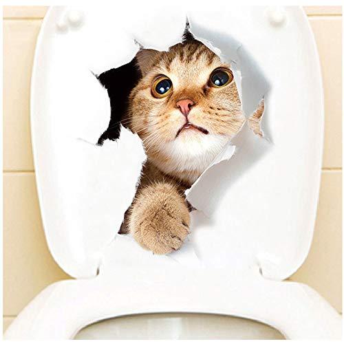 Haus Dekoration Vivid 3D-Loch-Katze-Hundetier WC-Aufkleber Hauptdekoration DIY Wc Washroom PVC Poster Kätzchen Welpen-Karikatur-Wand-Kunst-Abziehbilder (Color : 16 xh2005)