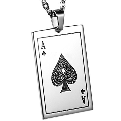 MESE London Collana Ace Of Spades Placcata In Argento 'The Royal Flush' in Confezione Regalo