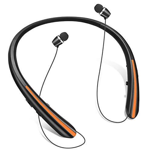 Bluetooth Retractable Headphones, Wireless Earbuds Neckband Headset Noise Cancelling Stereo Earphones by Joyphy (2020 Upgraded) (Orange)