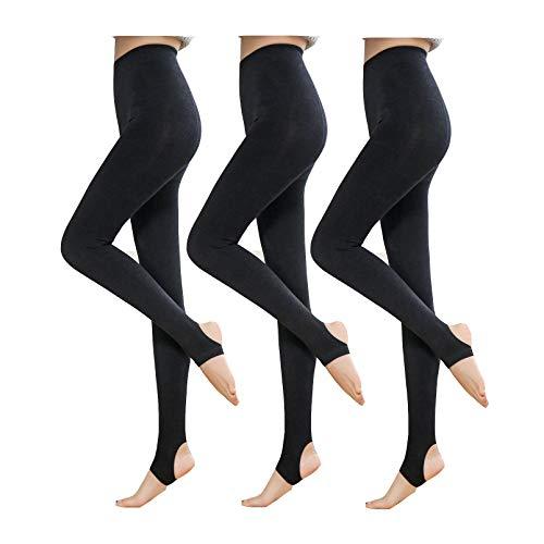 Yulaixuan Womens 3 paar ondoorzichtige panty's 120 Denier panty voetloze legging slanke stijgbeugel kousen