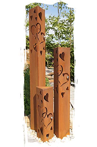 JH-Metalldesign Säulenset Herz Säule Set Edelrost Rost Romantik Gartendeko Garten Edelstahl - Kugel