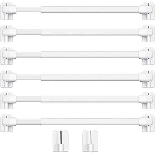 Einstellbare Kunststoff Gardinenstange Ausziehbare Gardinenstangen für Fenster Schrankstangen Zugstangen Gardinenstangen Selbstklebende Gardinenstange, 15,7-27,5 Zoll (Weiß, 6)