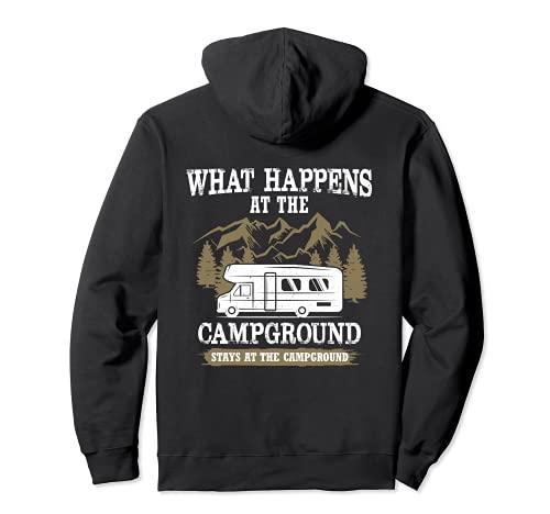 Qué sucede en el camping se queda en el camping Sudadera con Capucha