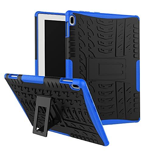 ZHIWEI Tablet PC Tasche Tablet-Abdeckung für Lenovo-Tab 4 10 Zoll/Tab-X304F-Reifenbeschaffenheit Stoßfest TPU + PC-Schutzhülle mit Faltgriffständer (Color : Dark Blue)