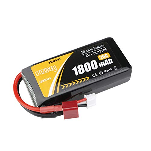 2S Lipo Battery 7.4V 1800mAh 25C T Plug for Jumper T16 T12 T8SG RadioMaster TX16S Transmitter Remote Controller RC Car Off Road Truck Battery