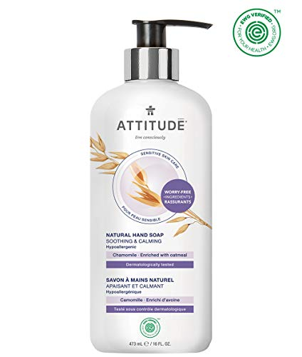 ATTITUDE Natural Hand Soap for Sensitive Skin, Soothing & Calming, Dermatologist-tested & Hypoallergenic, EWG Verified, Vegan & Cruelty-free Hand Wash, Chamomile, 16 Fl. Oz. (60414)
