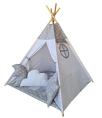 Izabell Tente de jeu tipi pour enfants - Pour l'intérieur et l'extérieur - Jouet indien avec fenêtre et accessoires