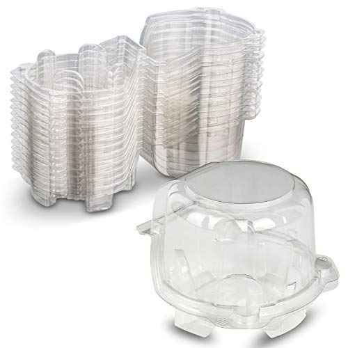 Cupcake or Muffin Holder Container Single Individual Clear PET Plastic for Product Visibility by MT Products (Pack of 15)