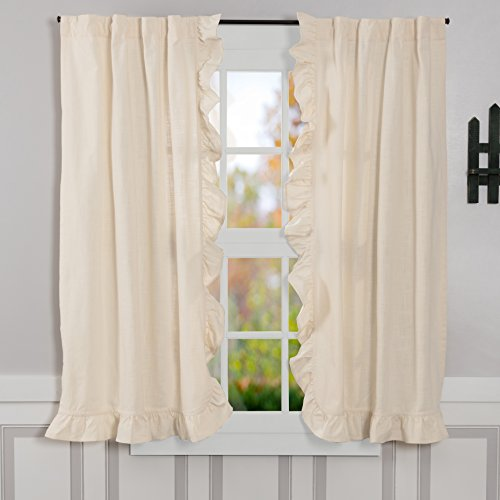 """Piper Classics Ashley Natural Ruffled Panel Curtains, Set of 2, 63"""" Long, Vintage Farmhouse Style Beige/Cream Drapes"""