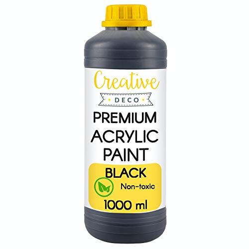 Creative Deco Negra Pintura Acrílica Manualidades | Botella 1000 ml | No Tóxica Principiantes Niños Estudiantes y Artistas Profesionales | para Pintar en Madera Lienzo Tela y Papel