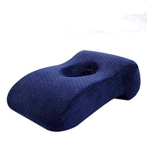 JONJUMP Almohada de espuma viscoelástica para siestas, oficina, mediodía, para dormir, para escuela, mesa, escritorio, transpirable, con agujero para dormir boca abajo
