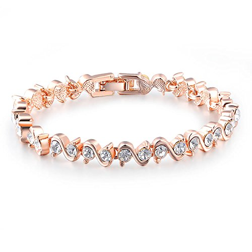 GEORGE · SMITH Rose Gold Plated Tennis Bracelet Sparkling Cubic Zirconia Gemstones S Shaped Chain Bangle Wedding Jewelry Gift for Women Ladies