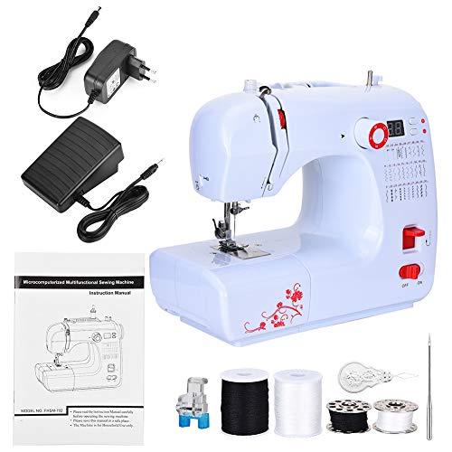 Mini elektrische naaimachine, semi-automatische huishoudelijke prachtige lichtgewicht praktische handige draagbare Overlock dik materiaal Machine 110V-240V(EU)