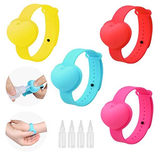 AMZBY 4 Stück Desinfektionsarmband Silikon Desinfizieren Armband Wristband Hand Dispenser Tragbare Desinfektion Armband Wieder Auffüllbar für Erwachsene und Kinder für Schulreisen Arbeit Draussen