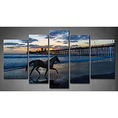 LSDAMN 5 imágenes 5 Piezas de Arte de Pared Caballo Corriendo en una Playa Cerca de un Muelle de Madera Puesta de Sol Pintura de Agua Azul imágenes Impresas en Lienzo Pintura