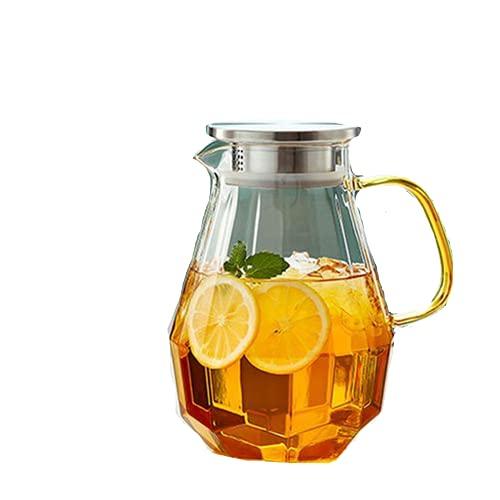 Jarra de cristal de 1,5 litros con tapa, transparente
