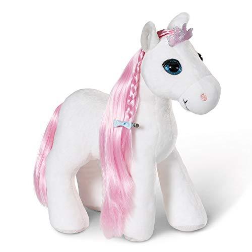 NICI Styling-Pferd Soulmates Princess 30 cm – Frisier-Pferd mit Sound und Frisier-Zubehör in Geschenkbox – Plüschtier Pferd zum Kuscheln, Spielen und Frisieren – Stofftier Pferd weiß / rosa – 44225