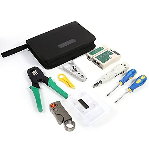 Herramienta de perforación - RJ45 RJ11 Crimper Cable Tester Cutter Herramienta de perforación Destornillador Conjunto de kit de red