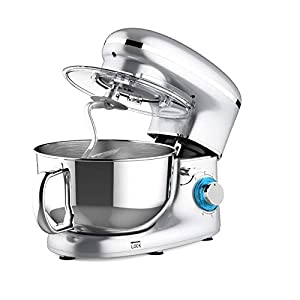Heska -1500W Food Stand Mixer – 4-in-1 Beater/Whisk/Dough Hook/Flex Edge Beater – 5.5 Litre Mixing Bowl with Splash Guard (Silver)