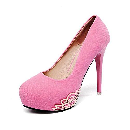 MZG Dames 'Dames' Schoenen Ronde Hoofd Cashmere Gezicht Waterdichte Tafel Hoge hak Fijn Met Schoenen Dinner Party Jurk Schoenen, roze, 36