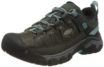 KEEN Women's Targhee 3 Low Height Waterproof Hiking Shoe, Alcatraz/Blue Turquoise, 9.5 US