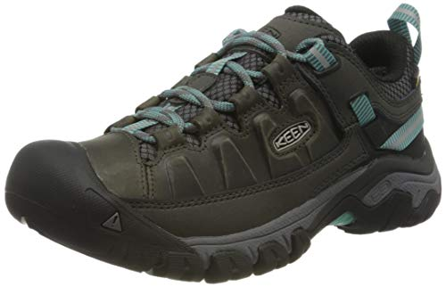 KEEN Women's Targhee 3 Low Height Waterproof Hiking Shoe, Alcatraz/Blue Turquoise, 6.5 US