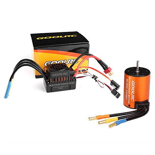 GoolRC Brushless Motor Upgrade Waterproof 3650 4300KV Brushless Motor with 60A ESC Combo Set for 1/10 RC Car Truck