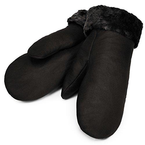 Lammfell Fäustlinge von CHRIST – warme, Lange Unisex Fausthandschuhe aus echtem Fell, Winter-Handschuhe für Damen und Herren in schwarz, Größe 7