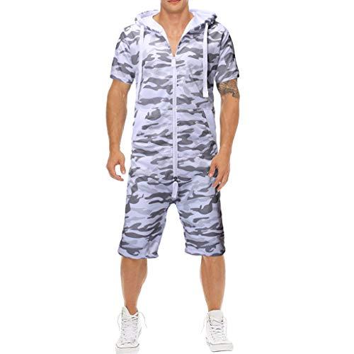 KaloryWee T Shirt Sport Anzug Yoga Tracksuit Trainingsanzug Sportanzug Kapuzenpullover Unisex T-Shirts Jumpsuit One-Piece Camouflage Kurzarm Pajama Muskel Shirts Bluse Hoodie