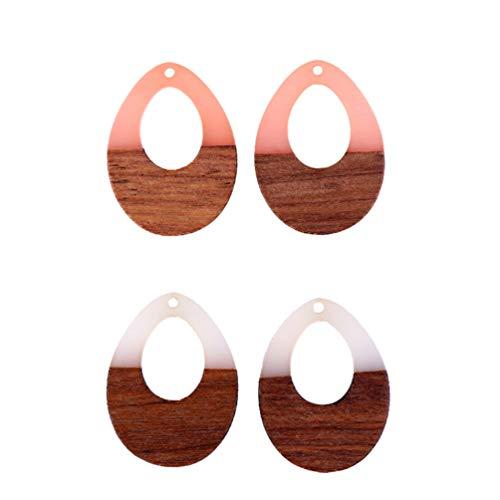 Artibetter 4 Piezas de Pendientes Colgantes para Mujer Pendientes de Lágrima Pendientes de Madera de Resina Colgantes para Fiestas Pendientes de Joyería para Damas