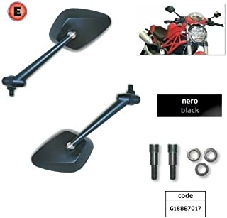 Compatible con Ducati Monster 620 I.E. 2002-02 Par de Espejos para Moto Far Retrovisor de Manillar de Aluminio Espejos homologados 7017 + 7017 + Kit Montaje específico G18BB7017