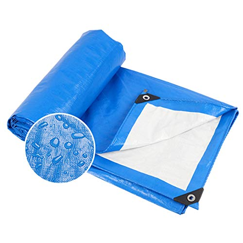 GZHENH Waterproof Tarp Tarpaulin Ground Sheet Cover with Eyelet Tear Resistance Outdoor Dust-proof Sun Protection, 18 Sizes (Color : Blue, Size : 5.8x5.8m)