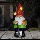 """Exhart Solar Gnome Garden Statue w/Shovel - Hand-Painted Red Hat Gnome Resin Statue Holding a Shovel - Solar Decor Lights in Butterfly & Snail Design - Elf Welcome Statue - 5"""" L x 5"""" W x 10"""" H"""