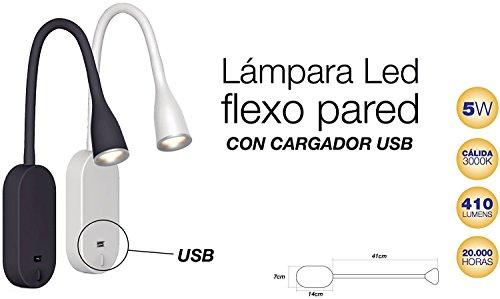 Lámpara LED Flexo de Pared con USB (Blanco)