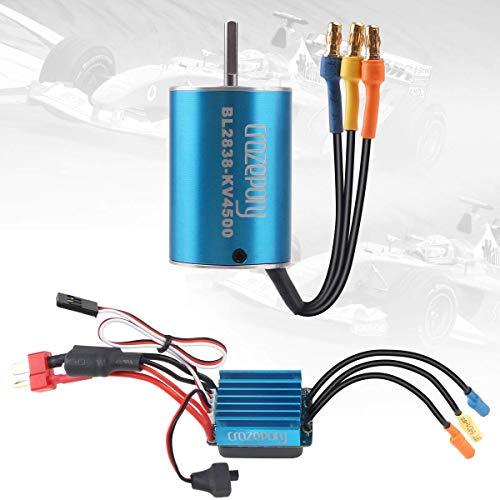 Crazepony-UK BL2838 4500KV Sensorless Brushless Motor and 35A ESC Electric Speed Controller Motor ESC Combo for 1:16 1:18 RC Car Blue