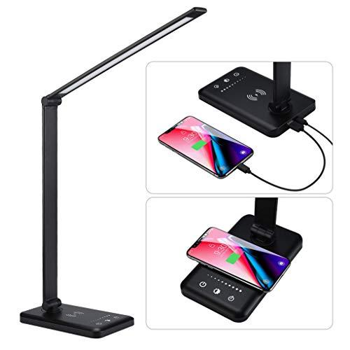 W.KING Lámpara Qi Wireless Cargador-Caring LED Tabla del Tacto con Regulable y Plegable de la lámpara, 5 Lighting Modos y 10 Niveles de Brillo, Timer Auto (Negro) [A +++]