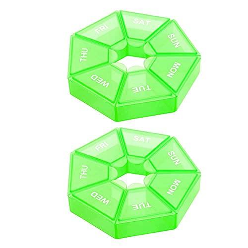 2 unids / set organizador de píldoras caja de medicina portátil de grado alimenticio cajas de almacenamiento de vitaminas de plástico 7 días semana contenedor de almacenamiento de joyas-verde, China
