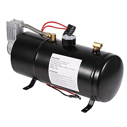 Qiilu Professional Air Compressor Pump for Truck Pickup on Board 150PSI, 12V Tire Inflator Pump Kit Horn Vehicile with 3 Liter Tank Capacity Heavy Duty