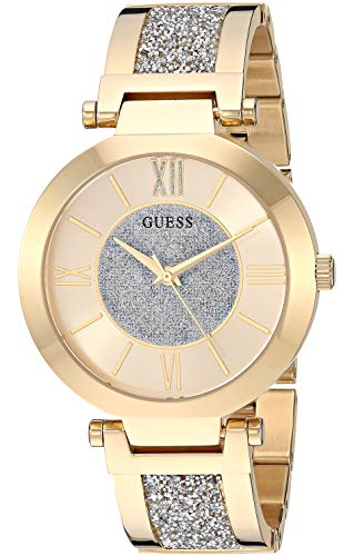 GUESS Women's Analog Watch with Stainless Steel Strap, Gold, 18 (Model: U1288L2)