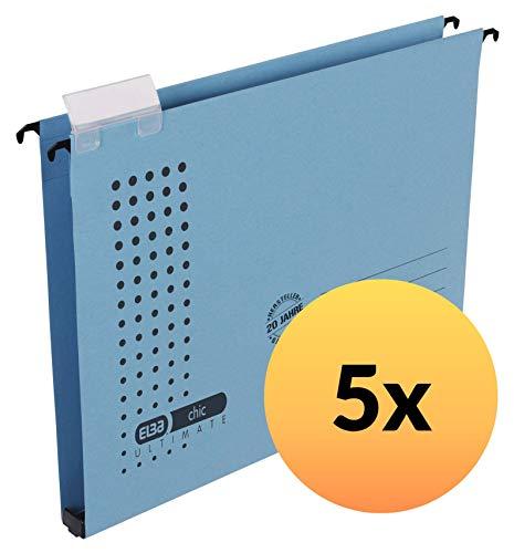 ELBA Hängesammler chic für A4, aus Karton, 20mm Kunststoff-Boden, blau, 5er Pack