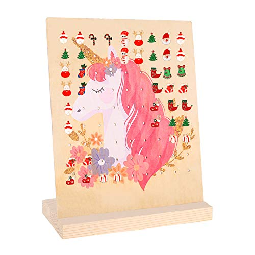 olyee Wood Earring Holder Stand Unicorn Mermaid Earring Display Rack for Girls Stud Earring Organizer with 81 Holes for 40 Pairs Dangle Earring Stand Holder(Unicorn)