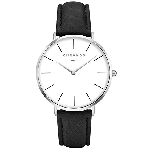 XLORDX Classic Damen Ultra Dünne Analoge Quarz Armbanduhr Quarz Schwarz Leder Silber