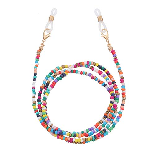 PROTUSTER Colorful Beaded Lanyard Face Mask Holder Chain Necklace Strap Face Cover Lanyards Around Neck Hold Mask Ear Saver Eyeglass Chains for Unisex Women Teens Adults (Set1)