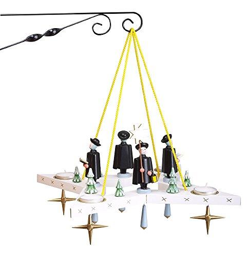Rudolphs Schatzkiste Lichterkranz Adventskranz Stern mit Kurrende BxT = 38x38cm NEU Leuchter Hängeleuchter Advent Kerzen Dekoration Seiffen Erzgebirge Holz Weihnachten