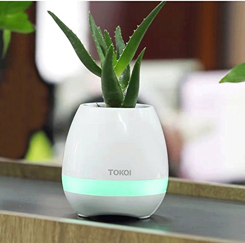 Happy Go-Mart Music Flower Pot, Wireless Bluetooth Flower Pot Speaker, Touch Plant Piano Night Light USB Charger Smart Round Cute Plant Pots (white)