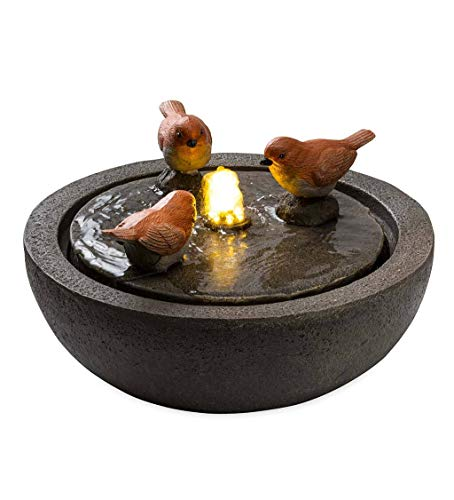 Wind & Weather 13.5-Inch Diameter by 7.5-Inch High Indoor Fountain Featuring Three Birds in a Birdbath-Like Bowl with Internal LED Lights and 6-Feet Long Electrical Cord
