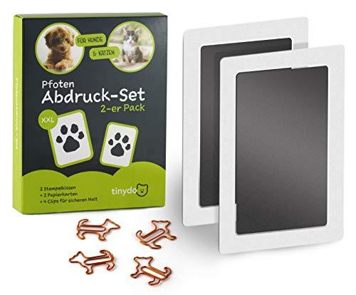 Tintenfreies Pfotenabdruck Set | 2er Pack | Für Hunde und Katzen Pfoten | Geschenk für Haustiere Besitzer | Stempelkissen (schwarz) ohne Kontakt zur Farbe